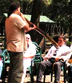 Richard Grossman performing a sound healing at Journey to the Heart Conference, 2003